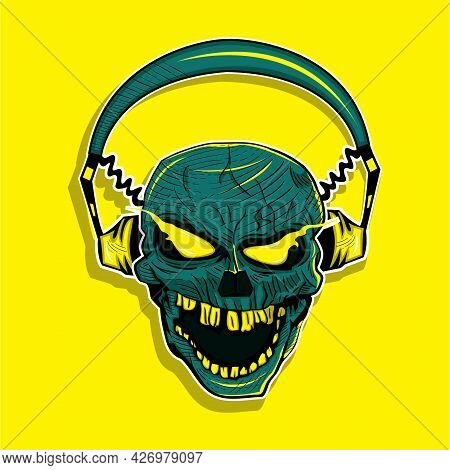 Skull Wearing Headphones. Yellow Background. Music Enthusiast. Audiophile. Creepy Face. Music Fans.
