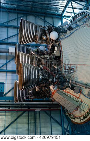Cape Canaveral, Florida, United States - July 21 2021: Saturn V Rocket Engine Exhaust Of The Apollo
