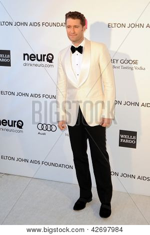 LOS ANGELES - FEB 24:  Matthew Morrison arrives at the Elton John Aids Foundation 21st Academy Awards Viewing Party at the West Hollywood Park on February 24, 2013 in West Hollywood, CA
