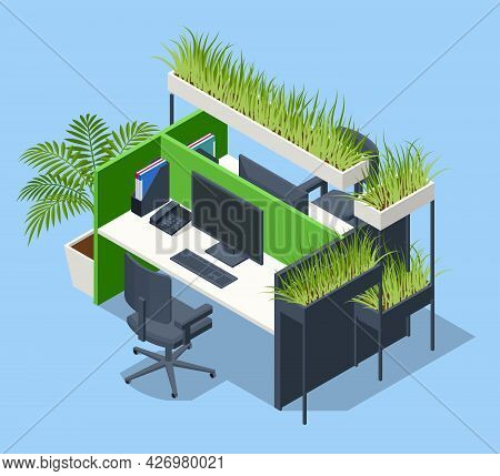 Isometric Green Wall In Office. Contemporary Eco Office Room With Computers And Green Grass