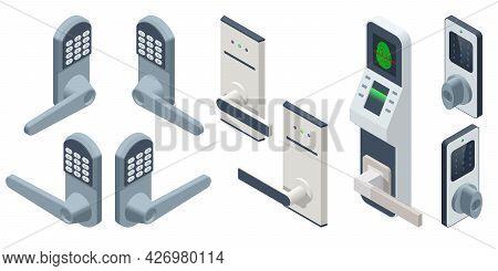 Isometric Door Electronic Access Control System Machine. Biometric Access Control Machine, Electroni