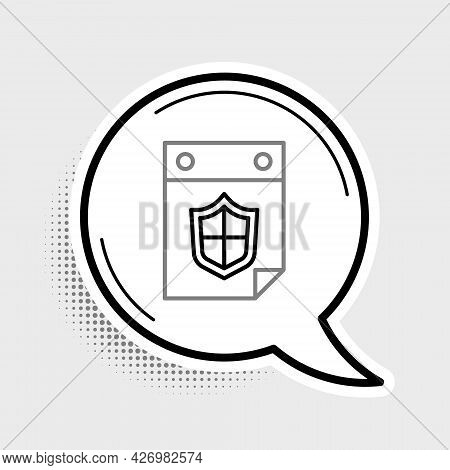 Line Calendar With Shield Icon Isolated On Grey Background. Insurance Concept. Guard Sign. Security,
