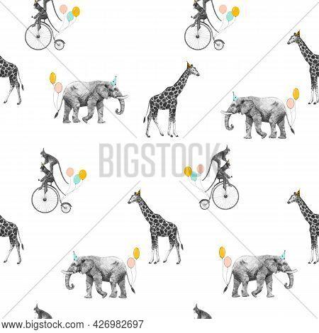 Beautiful Vector Seamless Pattern With Safari Animal Birthday Party. Monkey On Bike Giraffe And Elep