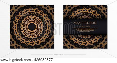 Dark Black Gold Postcard Template With White Indian Mandala Ornament. Elegant And Classic Elements R