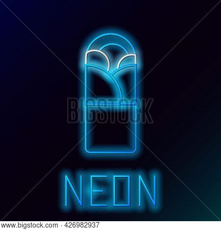 Glowing Neon Line Doner Kebab Icon Isolated On Black Background. Shawarma Sign. Street Fast Food Men