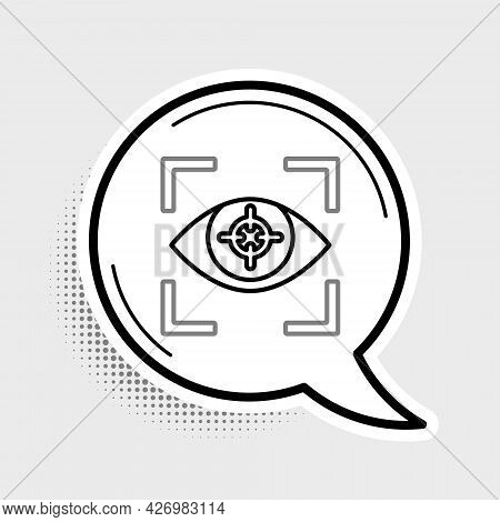 Line Eye Scan Icon Isolated On Grey Background. Scanning Eye. Security Check Symbol. Cyber Eye Sign.