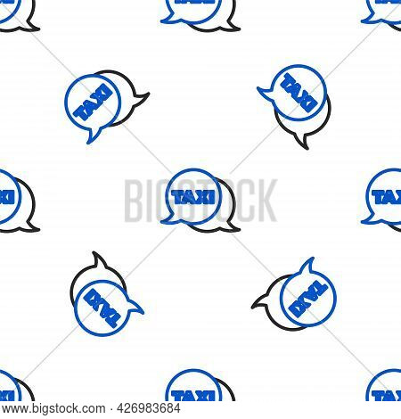 Line Taxi Call Telephone Service Icon Isolated Seamless Pattern On White Background. Speech Bubble S