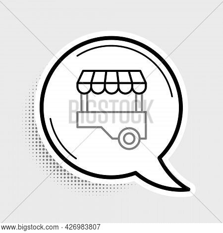 Line Fast Street Food Cart With Awning Icon Isolated On Grey Background. Urban Kiosk. Colorful Outli