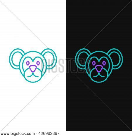 Line Monkey Icon Isolated On White And Black Background. Animal Symbol. Colorful Outline Concept. Ve