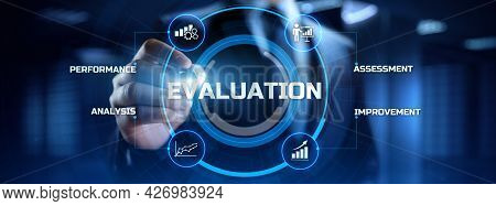 Evaluation Assessment Customer Service Feedback. Businessman Pressing Button On Screen