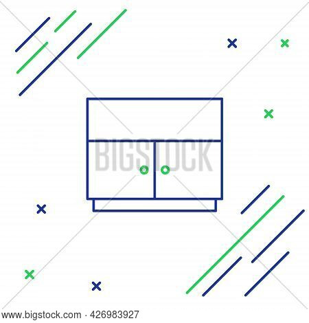 Line Wardrobe Icon Isolated On White Background. Colorful Outline Concept. Vector