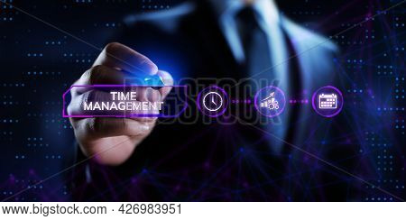 Time Management Planning Productivity Business Concept. Businessman Pressing Button