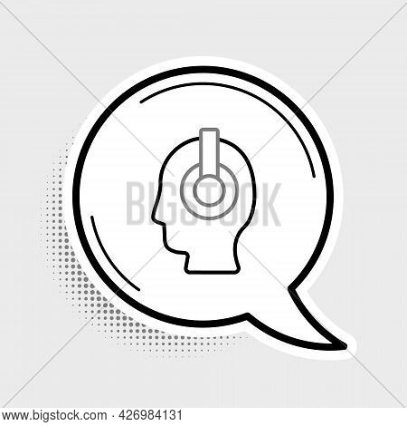 Line Freelancer Icon Isolated On Grey Background. Freelancer Man Working On Laptop At His House. Onl