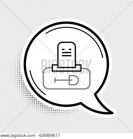 Line Grave With Tombstone Icon Isolated On Grey Background. Colorful Outline Concept. Vector