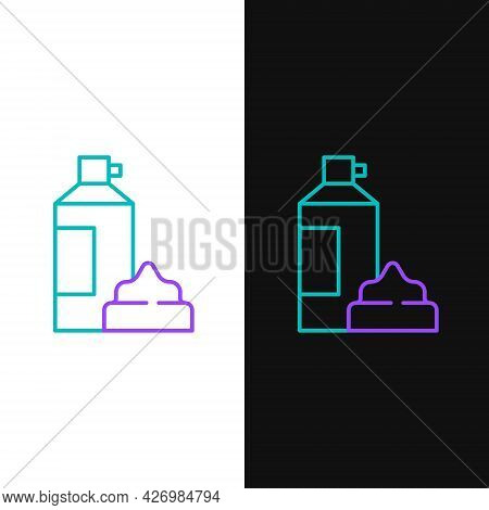 Line Whipped Cream In An Aerosol Can Icon Isolated On White And Black Background. Sweet Dairy Produc