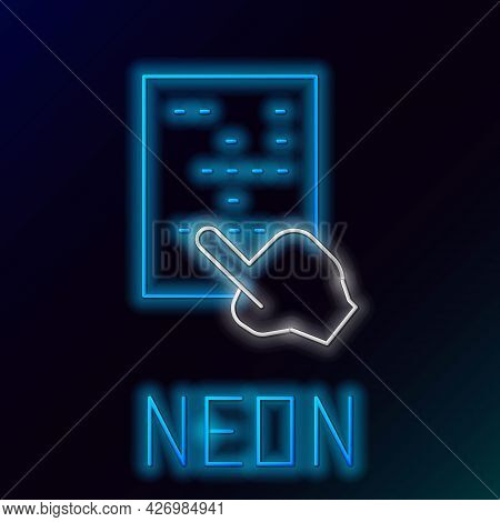 Glowing Neon Line Braille Icon Isolated On Black Background. Finger Drives On Points. Writing Signs
