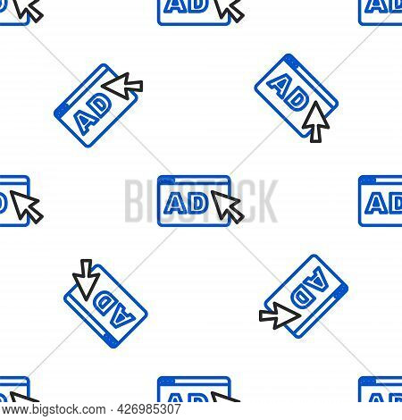Line Advertising Icon Isolated Seamless Pattern On White Background. Concept Of Marketing And Promot