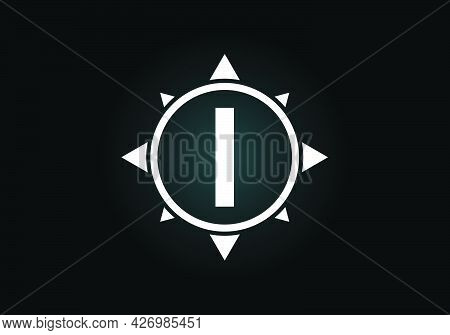 Initial I Monogram Letter Alphabet In A Compass. Font Emblem. Compass Logo Sign Symbol. Modern Vecto