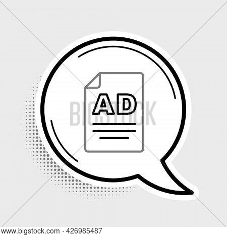 Line Advertising Icon Isolated On Grey Background. Concept Of Marketing And Promotion Process. Respo