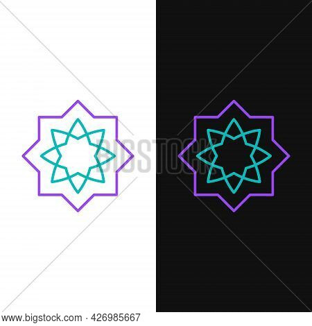Line Islamic Octagonal Star Ornament Icon Isolated On White And Black Background. Colorful Outline C