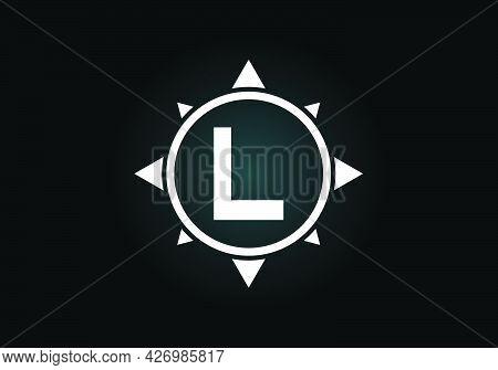 Initial L Monogram Letter Alphabet In A Compass. Font Emblem. Compass Logo Sign Symbol. Modern Vecto