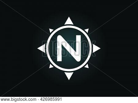 Initial N Monogram Letter Alphabet In A Compass. Font Emblem. Compass Logo Sign Symbol. Modern Vecto