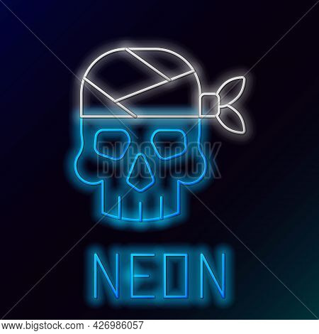 Glowing Neon Line Pirate Captain Icon Isolated On Black Background. Colorful Outline Concept. Vector
