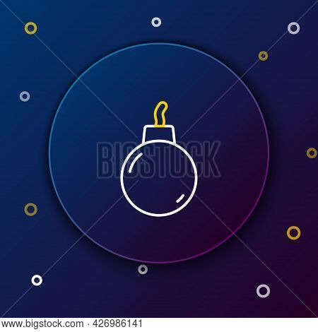 Line Bomb Ready To Explode Icon Isolated On Blue Background. Colorful Outline Concept. Vector