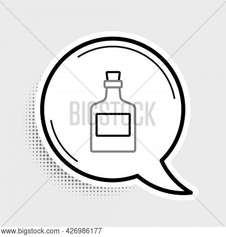 Line Alcohol Drink Rum Bottle Icon Isolated On Grey Background. Colorful Outline Concept. Vector