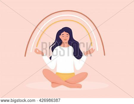 Smiling Girl Are Sitting Under A Rainbow. Body Positive And Health Care Concept. Freedom Lifestyle C