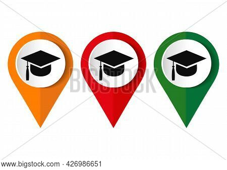 University Location Icon. Map Pointer Silhouette Symbol. Student's Hat Pinpoint. College Nearby. Vec