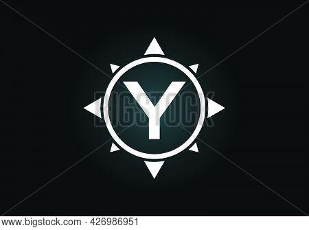 Initial Y Monogram Letter Alphabet In A Compass. Font Emblem. Compass Logo Sign Symbol. Modern Vecto