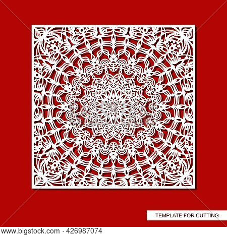 Square Panel With Carved Ornament. Oriental Pattern, Round Mandala, Curls, Decorative Leaves And Flo