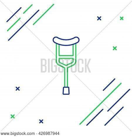 Line Crutch Or Crutches Icon Isolated On White Background. Equipment For Rehabilitation Of People Wi