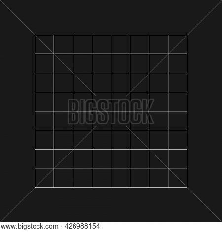 Digital Retro Cyber Grid. Retrofuturistic Design Element. Grid In Cyberpunk 80s Style. Rectangular G