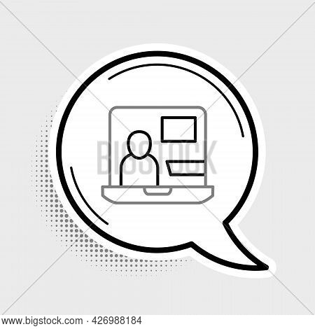 Line World News Icon Isolated On Grey Background. Breaking News, World News Tv. Colorful Outline Con