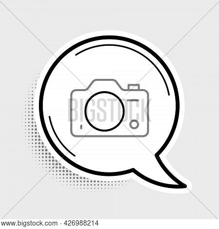 Line Photo Camera Icon Isolated On Grey Background. Foto Camera. Digital Photography. Colorful Outli