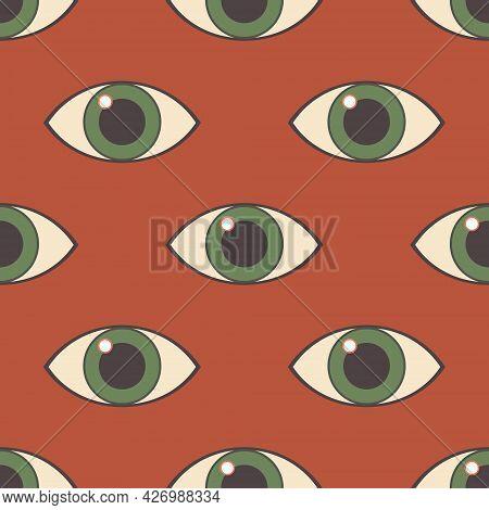 Eye. Seamless Modern Pattern With An All-seeing Eye. Print On Fashionable Fabrics, Decorative Pillow