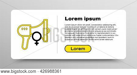 Line Female Movement, Feminist Activist With Banner And Placards Icon Isolated On White Background.