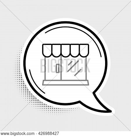 Line Barbershop Building Icon Isolated On Grey Background. Colorful Outline Concept. Vector