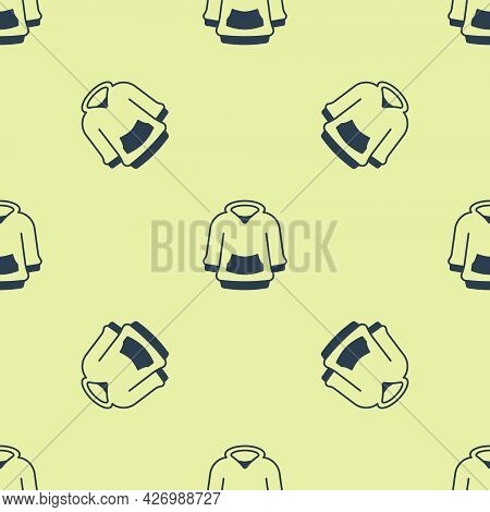 Blue Hoodie Icon Isolated Seamless Pattern On Yellow Background. Hooded Sweatshirt. Vector
