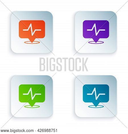 Color Heart Rate Icon Isolated On White Background. Heartbeat Sign. Heart Pulse Icon. Cardiogram Ico