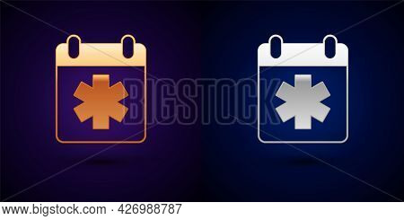Gold And Silver Doctor Appointment Icon Isolated On Black Background. Calendar, Planning Board, Agen