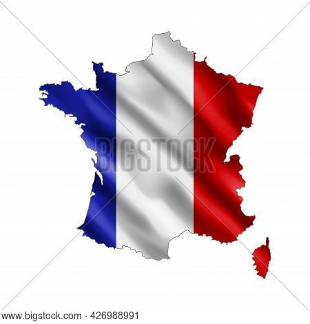 Map Of France. Stylized Country Flag. State Territory. 3d. Vector Illustration.