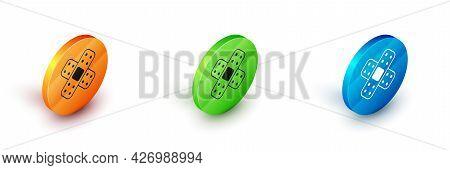 Isometric Crossed Bandage Plaster Icon Isolated On White Background. Medical Plaster, Adhesive Banda