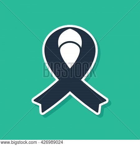 Blue Awareness Ribbon Icon Isolated On Green Background. Public Awareness To Disability, Medical Con