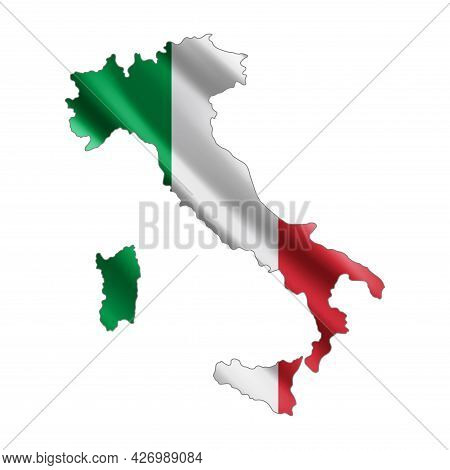 Map Of Italy. Stylized Country Flag. State Territory. 3d. Vector Illustration.