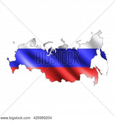 Map Of Russia.stylized Country Flag. State Territory. 3d. Vector Illustration.
