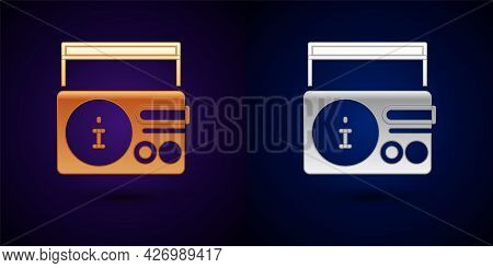Gold And Silver News On Radio Channel Icon Isolated On Black Background. Vector
