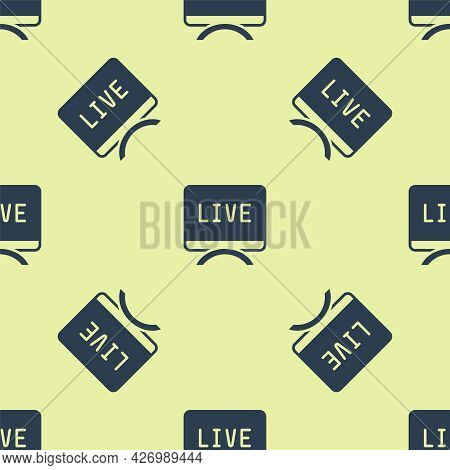 Blue Live Report Icon Isolated Seamless Pattern On Yellow Background. Live News, Hot News. Vector